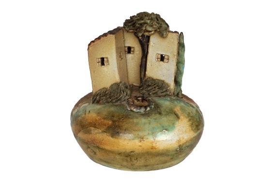 Miniature Provencal House Sculpture, Hand Made French Pottery Vase