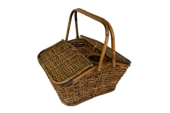 Rattan and Bamboo Picnic Basket with Wine Bottle Carrier