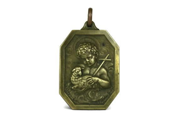 Saint John The Baptist Pendant. Lamb of God French Religious Medal. Christian Jewellery Gift.