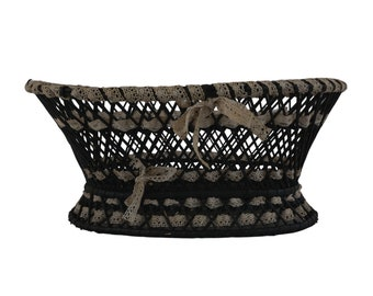 Antique French Wicker Basket with Ribbon Lace, Hand Woven Victorian Knitting Storage Bowl