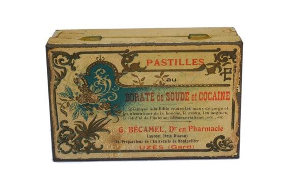 Antique Cocaine Medicine Box, French Pharmacy Medical Tin Box