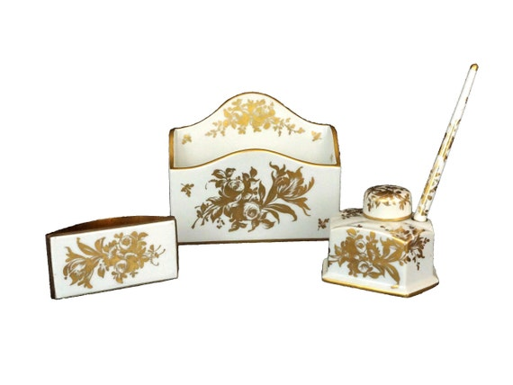 Antique French Porcelain Writing Set, Inkwell with pen, Letter Holder and Ink Blotter