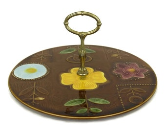 Cheese Platter. Vintage French Sarreguemines Pottery Flower Cake Stand. Retro Ceramic Serving Plate.