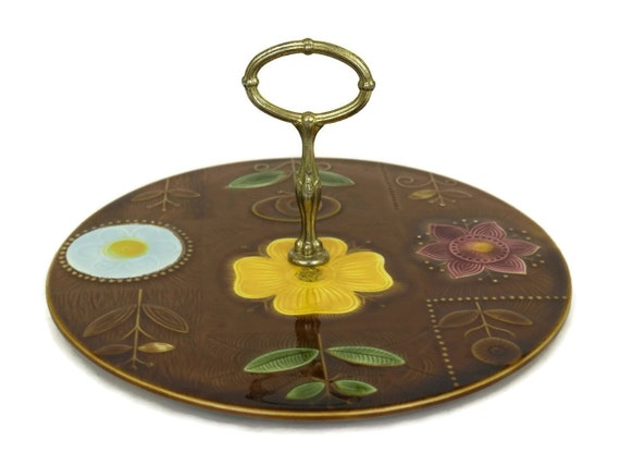 French Vintage Sarreguemines Cake Stand, Cheese Pottery Platter, Retro Flower Ceramic Serving Plate