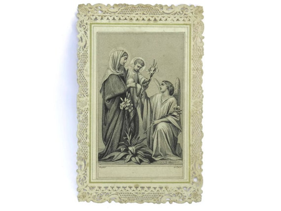 Antique Cavinet Holy Card. French Ephemera Card with Mary and Jesus Print and Lace Border.
