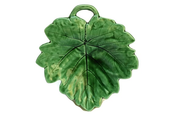 Grape Serving Dish. Green Majolica Leaf Plate. French Antique Sarreguemines Ceramic Snack Bowl. Green Kitchen Decor and Gifts for Her.
