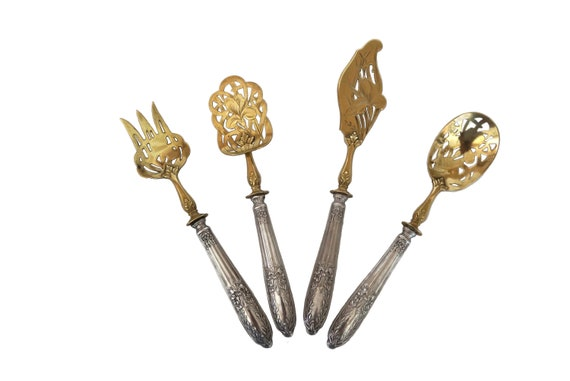 Antique Silver Hors d'Oeuvre Set, French Vermeil Serving Spoons, Fork and Knife