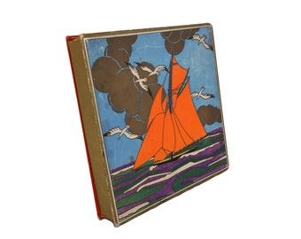 Art Deco Candy Box with Sailing Boat and Seagulls, Antique French Chocolate Gift Box