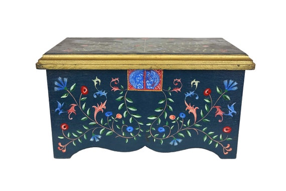 Wooden Folk Art Chest with Hand Painted Tole Flowers, Boho Jewelry Box