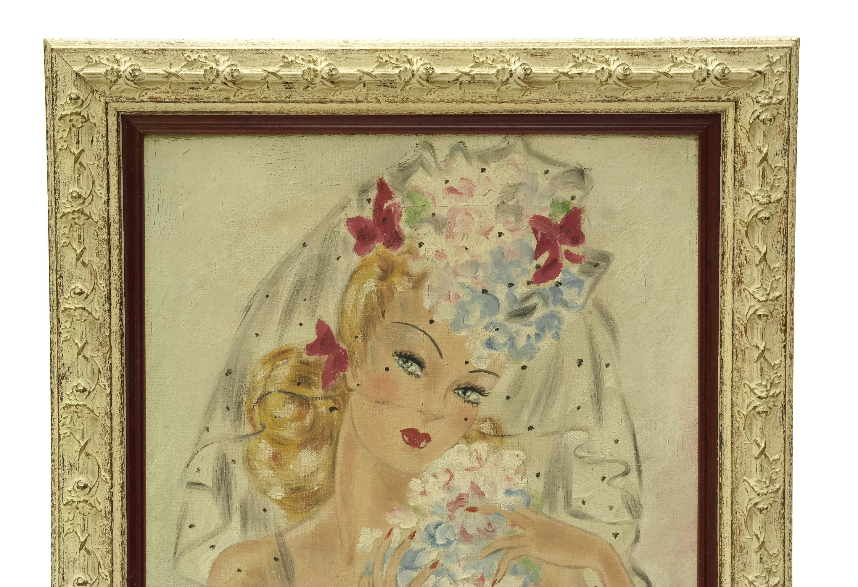 1940s Pinup French Nude Woman Portrait Painting. Naked Lady Original ...