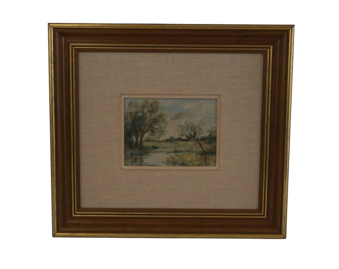 French Country Landscape Oil Painting with Pond and Trees, Original Signed and Framed Art