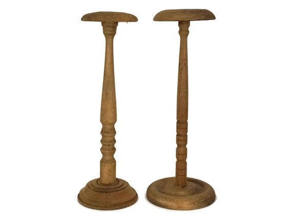French Vintage Hat Display Stands Set of 2, Vintage Wood Hat Stand