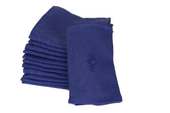 French Blue Linen Napkins. Antique Monogram Serviettes. Set of 12 with Embroidered Initials PC.