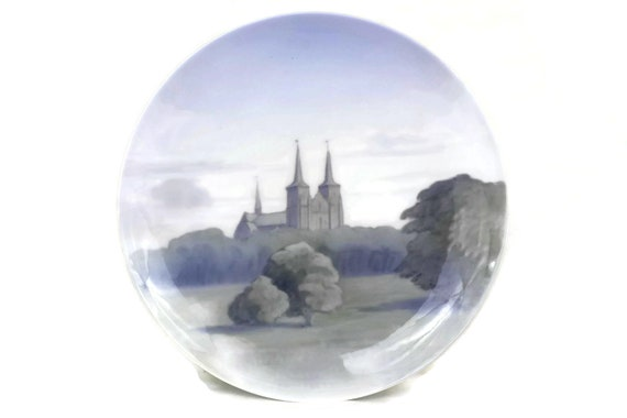 Vintage Royal Copenhagen Porcelain Landscape with Country Church Plate. Collectible Hand Painted Ceramic Wall Art. Denmark Souvenir.