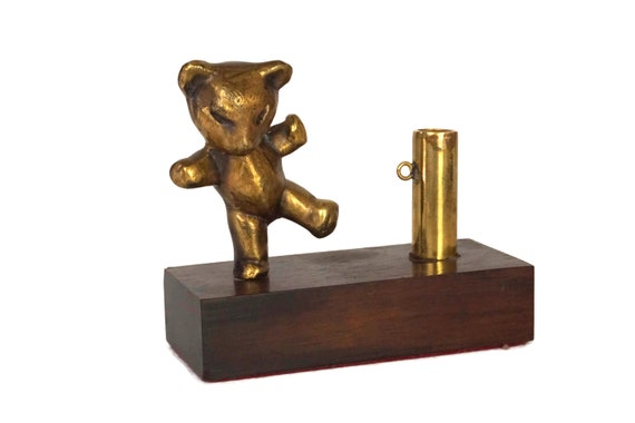 French Bronze Teddy Bear Figurine Pen Holder, Office and Desk Decor and Gifts