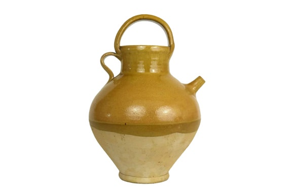 Provence Stoneware Wine Jug, Half Glazed Ocher Ceramic Urn