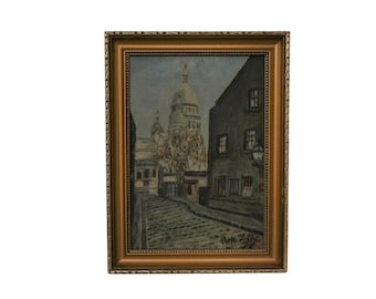 Sacre Coeur Montmartre Paris Painting, Original Vintage French Art