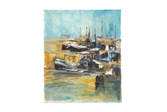 Abstract Painting of Harbor and Sailing Boats, Original French Coastal Art