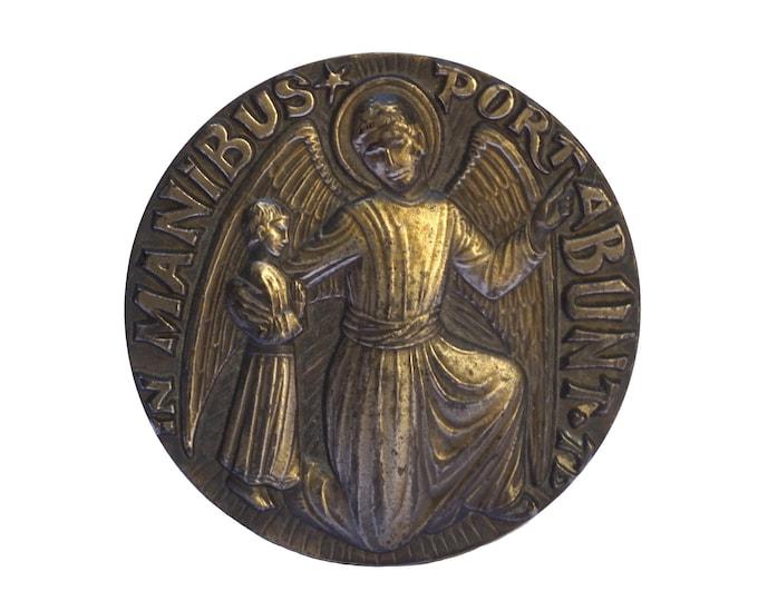 Guardian Angel Bronze Medal, Psalm 91, Vintage Christian Gifts
