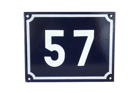 Number 57 French House Address, Blue and White Enamel Door Plaque Sign