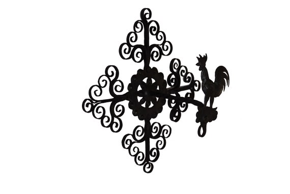 French Rooster Wall Mount for Hanging Bell, Rustic Cottage Home and Garden Decor