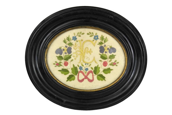 Victorian Monogram and Flower Embroidery in Black Oval Frame with Antique French Initials I C