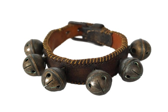 Antique Brass Horse Sleigh Bells on Leather Strap, French Christmas Decor