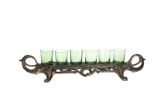Antique Barware Shot Glass Set in Serving Tray Stand, French Cocktail Bar Decor and Gifts