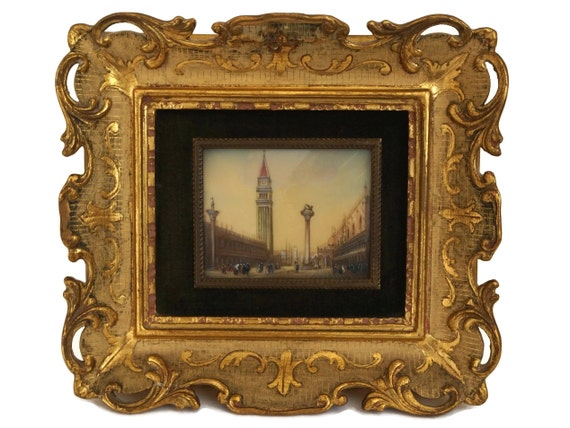 Antique Miniature St Mark's Square, Venice Oil Painting