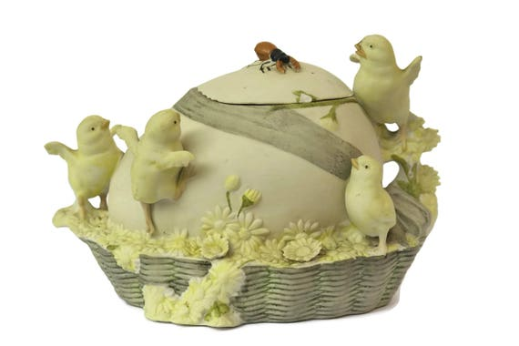 Porcelain Easter Egg Box with Chick Figures. Antique Bisque Trinket Box Home Decor. Jewellery Dish Mothers Day Gifts For Her.