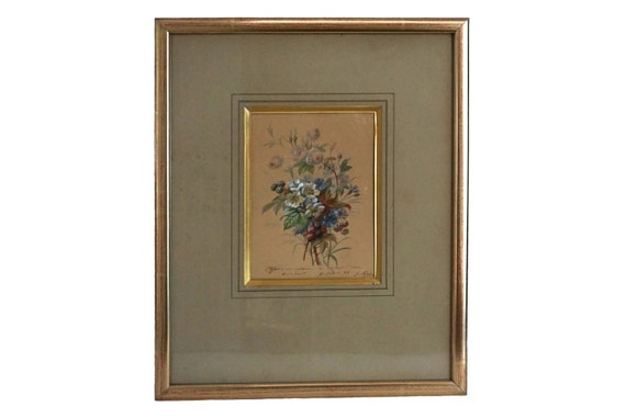 Antique Flower Bouquet Watercolor Painting, French Floral Still Life Art