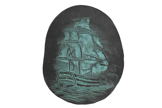 Sailing Ship Art Wall Plaque by Roy Poette, Mid Century Nautical Decor