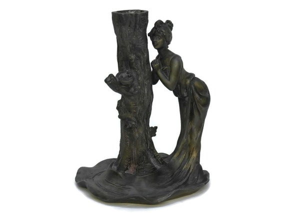 Art Nouveau Candle Holder with Lady Figurine & Tree by Joseph Emile Carlier. Antique French Candlestick. Gifts For Her.