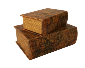Secret Book Box Safe with Map Cover, Set of 2 Vintage Stash Storage Boxes