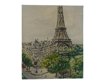 Eiffel Tower Paris Painting with Street Scene, Mid Century Original French Signed Art
