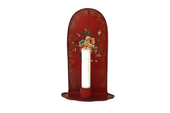 Antique French Tole Candle Holder with Hand Painted Flowers, Toleware Candlestick Sconce