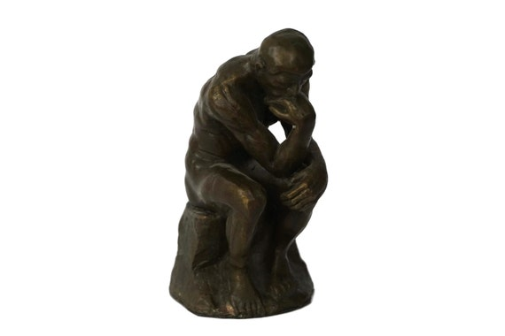 Bronze Rodin Thinker Figurine, Reproduction Statuette