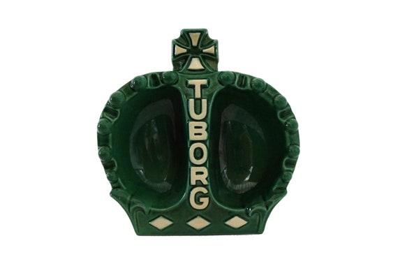 Tuborg Beer Advertising Ashtray, Mid Century Ceramic Crown Coin Dish, Bar Decor and Gifts