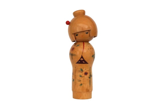 Vintage Japanese Kokeshi Doll with Flower Kimono, Wooden Folk Art Figurine