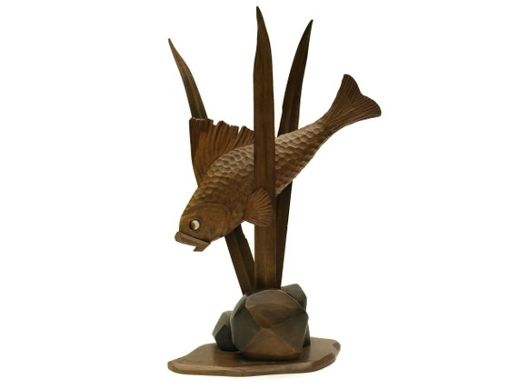 Art Deco Fish Sculpture. Carved Wood Fish Figurine. Coastal Home Decor and Nautical Gifts.