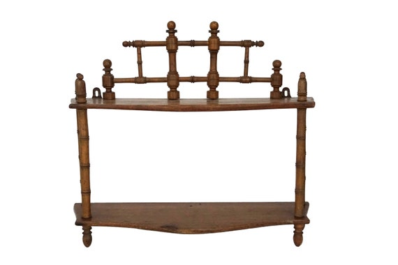 Antique Wood Wall Hanging Shelf, French Napoleon III Organizer Display Stand