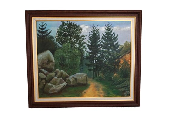 French Forest Path Painting, Scenic Woodland Landscape Art with Pine Trees