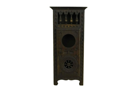 Miniature Breton Wardrobe Furniture, Hand Carved Wood Doll Armoire Cabinet