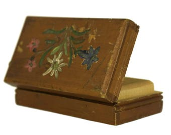 Stamp Box. Antique French Hand Painted Flowers. Carved Wooden Box. Postage Stamp Collection. Philatelist Gift.
