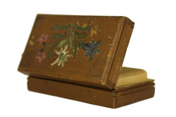 French Antique Hand Painted Stamp Box with Flowers, Carved Wooden Box, Postage Stamp Collection, Philatelist Gift