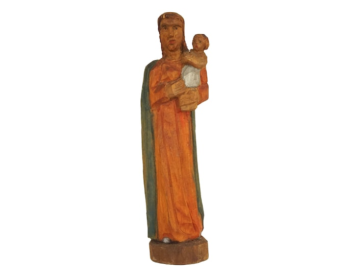 Madonna and Child Wooden Statuette, Carved Wood Virgin Mary and Baby Jesus Figurine