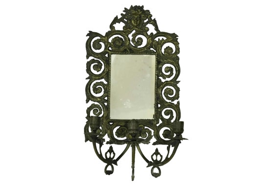 Antique Mirror with Candle Sconces, French Bronze Wall Candleholders