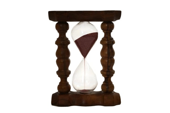 Sand Hourglass Timer in Olive Wood Stand, 3 Minute Glass Egg Timer