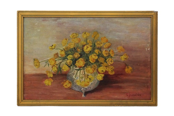Vase of Flowers Still Life Painting, Signed Floral Bouquet Art