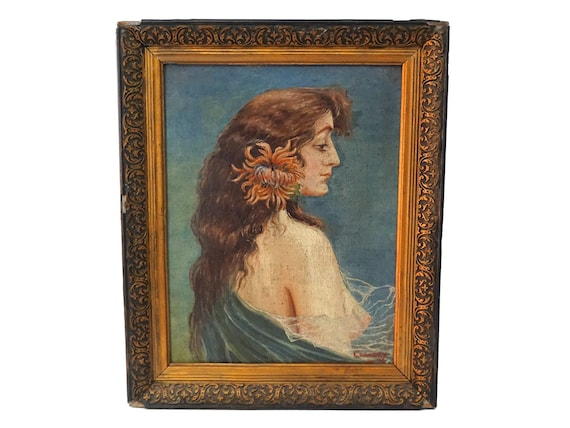 Erotic Art Nouveau Lady Portrait, Antique French Nude Woman Painting